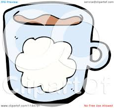 cartoon of a blue coffee mug with a cloud 1 royalty free vector
