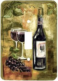 wine bottle plates wine and grapes painting wall plates single