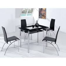 Black Glass Dining Table And 4 Chairs Small Compact Glass Dining Table With 4 D211 Chairs Black