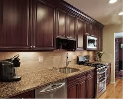 kitchen backsplash ideas with brown cabinets what backsplash to use with busy granite search
