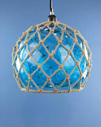 glass fishing float pendant light glass fish float hanging pendant light blue cheeky tiki ltd