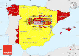 maps of spain free flag simple map of spain single color outside flag rotated
