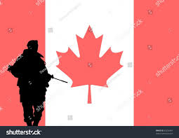 Soldier With Flag Silhouette Canadian Soldier Flag Canada Background Stock