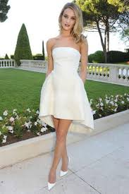 simple strapless a line satin high low wedding dress wedding