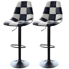 Black And White Checkered Amerihome White Checkered Racing Bar Chairs 2 Piece Bsracewset