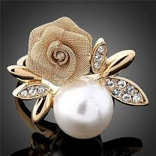 new rings style images 2018 new style alloy gold color imitation pearl flower rings for jpg