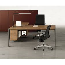 bureau d angle en bois bureau d angle avec crédence bois x9 officity bureaux de direction
