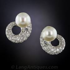 diamond and pearl earrings mid century classic diamond and pearl earrings