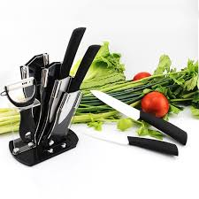 ceramic knife set kitchen knives modern block 6 piece chef cutlery
