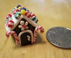 simple miniature gingerbread house ornament out of polymer clay