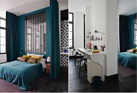 curtain over bed wonderful modern blue and black bedroom decoration using blue velvet