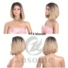 Synthetic Vs Human Hair Extensions by T4 Blonde Short Bob Style Braiding Wig Box Braids Lace Front Wigs