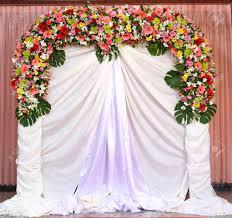 wedding backdrop of flowers beautiful backdrop flowers white fabric ready for wedding