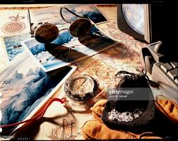 Map Compass Still Life Of Items That A Modern Explorer Would Carry Pictures