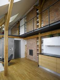 apartment attic loft apartment with brick wall and wooden floor