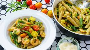 Pasta Recipes by Shrimp Pasta Recipe With Pesto And Cherry Tomatoes Easy Food