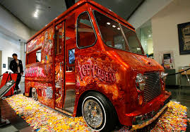 a 1953 chevrolet truck is displayed at petersen