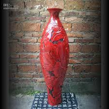 Tall Red Vases Cheap Modern Resin Blossoming Floor Vase Fashion Home Decorations
