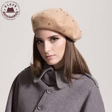 barret hat vintage women beret hat fashion winter warn wool rivet berets for