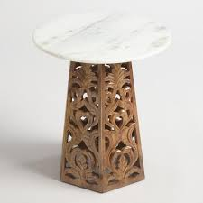 Marble Accent Table Marble And Carved Wood Accent Table World Market