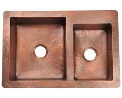 Hammered Copper Sink Reviews by 901 Double Offset Bowl Copper Sink