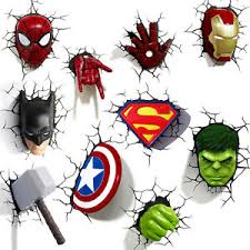 3d deco superhero wall lights marvel dc heroes 3d deco led wall night light iron man captain