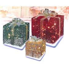 lighted christmas present boxes 3 glittering gift box lighted christmas yard decoration