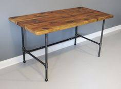 Pipe Desk Extra Thick Pipe Reclaimed Wood Desk Industrial Desk by Steel Dining Table Foter Pipe Table Legs Pinterest Steel