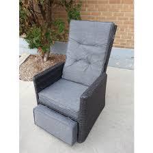 reclining patio chair with ottoman bonaventure reclining patio chair black grey backyard dreaming