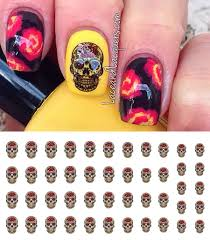 red rose sugar skull nail decals 5 1 2