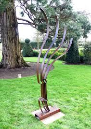 sculpture recurve modern abstract metal garden statue by