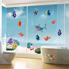 sea world colorful fish animals vinyl wall art window bathroom