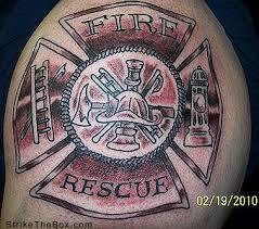 maltese cross firefighter tattoo
