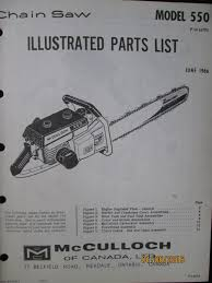mcculloch chain saw parts list book manual model 550 factory