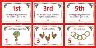 twelve days of christmas visual aids twelve days of christmas