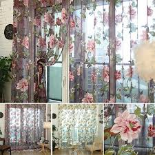 Floral Curtains New Tulle Shielding Floral Curtains Window Screen Bedroom Living