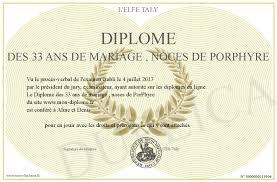 33 ans de mariage diplome des 33 ans de mariage noces de porphyre