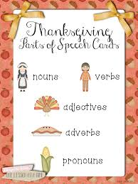 thanksgiving parts of speech cards thanksgiving hallmark