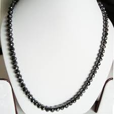 bead diamond necklace images Very rare 200 cts natural black diamond necklace 8mm rd beads JPG