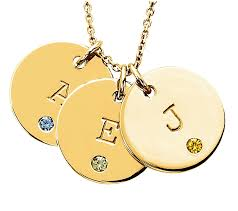 white gold initial disc necklace personalized birthstone initial disc pendants in 14k yellow or