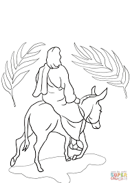 jesus riding on a donkey coloring page free printable coloring pages