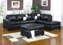 black faux leather sectional sofa bed with left facing storage