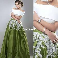 vintage two pieces prom dresses saudi arabic off shoulder white