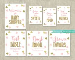 baby shower sign pink and gold baby shower signs package bundle 7 table signs