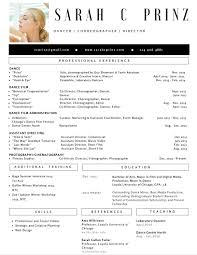 professional dance resume resume dance resume