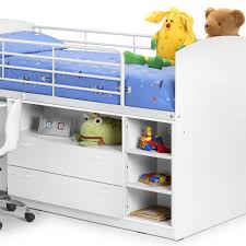 Kids Beds With Storage Boys Leo Mid Sleeper Kids Single Bed In White Kids Beds Cuckooland