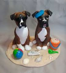 boxer dog christmas ornament figurine polymer clay by