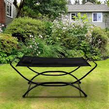 outsunny heavy duty steel frame hammock outdoor patio swing bed