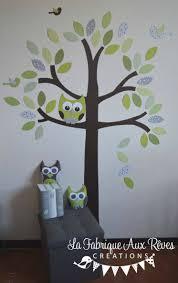 arbre chambre bébé stickers arbre vert anis amande kaki chocolat marron gris nichoir