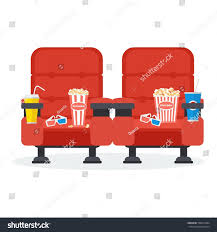 Comfortable Armchairs Auditorium Two Red Comfortable Armchairs Cinema Stock Vector